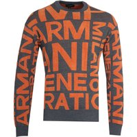 Emporio Armani Jacquard Orange Knit Sweatshirt