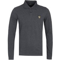 Belstaff Long Sleeve Charcoal Melange Logo Polo Shirt