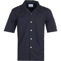 Albam Short Sleeve Revere Collar Navy Shirt