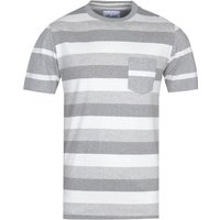 Albam Whelan White & Grey Stripe T-Shirt