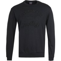 Paul & Shark Raised Logo Crew Neck Black Sweatshirt