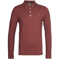Farah Ricky Burgundy Slim Fit Long Sleeve Polo Shirt