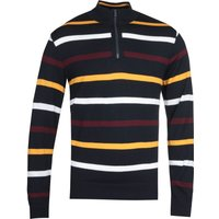 Paul & Shark Knitted Quarter Zip Stripe Navy Sweater