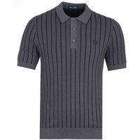 Fred Perry Contrast Stripe Charcoal Grey Knitted Polo Shirt