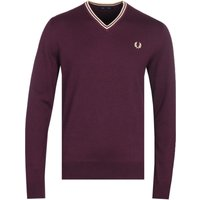 Fred Perry V-Neck White Sweater