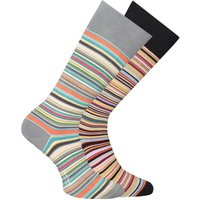 PS Paul Smith 2 Pack Black & Grey Stripe Socks