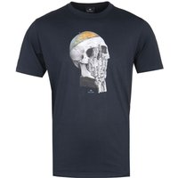 PS Paul Smith Globe Skull Print Navy T-Shirt