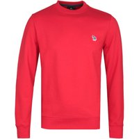 PS Paul SMith Regular Fit Zebra Logo Red Crew Neck Sweatshirt