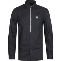 Fred Perry Taped Placket Black Long Sleeve Shirt