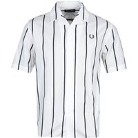 Fred Perry Striped Revere Collar Snow White Short Sleeve Shirt
