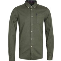Barbour Herringbone Tailored Forrest Green Long Sleeve Shirt