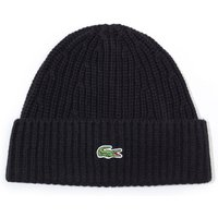 Lacoste Ribbed Black Wool Blend Beanie
