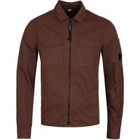 CP Company Full Zip Pocket Brown Long Sleeve Shirt