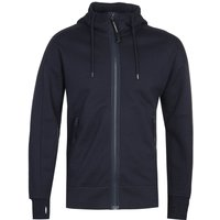 CP Company Full Zip Diagonal Fleece Navy Google Hoodie