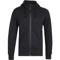 CP Company Full Zip Diagonal Fleece Black Google Hoodie
