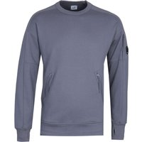 CP Company Tonal Zip Steel Blue Crew Neck Sweatshirt
