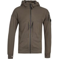 CP Company Full Zip Vertical Pocket Dark Olive Hoodie