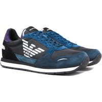 Emporio Armani Big Logo Black Navy & Purple Detail Runner Trainers