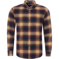 Portuguese-Flannel-Hill-Check-Shirt-Navy-and-Caramel