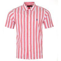 Polo Ralph Lauren Stripe Classic Fit Short Sleeve Oxford Shirt - Red