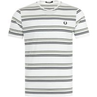 Fred Perry Striped Crew Neck T-Shirt - Snow White