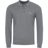Barbour Cotton Cashmere Long Sleeve Polo Shirt - Grey Marl