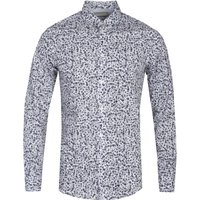 Diesel S-Blu Camicia Slim Fit Skull Print White & Navy Long Sleeve Shirt