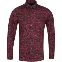 Diesel S-Blu Camicia Slim Fit Skull Print Black & Red Long Sleeve Shirt