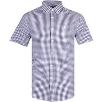 Farah Ritchie Short Sleeve Fine-Checked Raisin Red Shirt