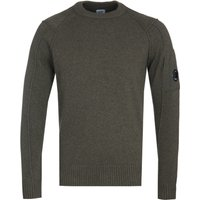 CP Company Arm Lens Olive Lambswool Sweater