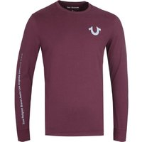 True Religion Long Sleeve Reflective Detail Port Red T-Shirt