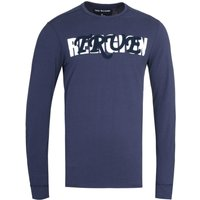 True Religion Long Sleeve Baseball Embro Navy T-Shirt