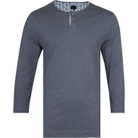 Pretty Green Three-Quarter Sleeve Lace Trim Blue T-Shirt