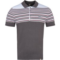 Pretty Green Grey Striped Short Sleeve Knitted Polo Shirt
