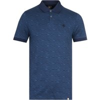 Pretty Green Jacquard Wave Navy Polo Shirt