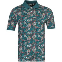 Pretty Green Paisley Print Trim Teal Polo Shirt