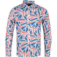Pretty Green Union Jack Print Long Sleeve Blue Shirt