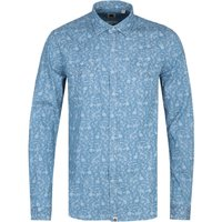 Pretty Green Slim Fit Ditsy Floral PatternIndigo Shirt