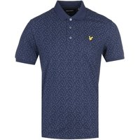 Lyle & Scott Micro Tile Print Navy Polo Shirt