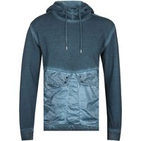 CP Company Garment Dyed Cotton Fleece Deep Blue Pullover Hoodie