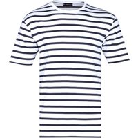 Armor Lux Classic Black Striped Crew Neck White T-Shirt