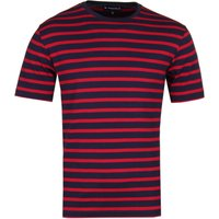 Armor Lux Classic Striped Crew Neck Red T-Shirt