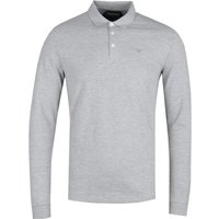 Emporio Armani Grey Marl Pique Long Sleeve Polo Shirt
