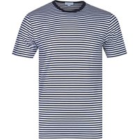 Sunspel White & Navy Stripe Short Sleeve Crew Neck T-Shirt