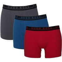 BOSS 3 Pack Red, Blue & Grey Stretch Cotton Trunks