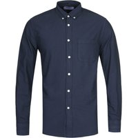 Portuguese Flannel Belvista Button-Down Long Sleeve Navy Shirt