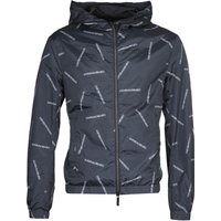 Emporio Armani All Over Script Hooded Black Jacket