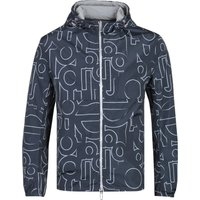 Emporio Armani Reversible All-Over Logo Grey & Navy Jacket