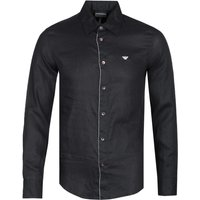 Emporio Armani Regular Fit Eagle Logo Black Linen Shirt