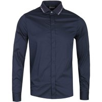 Emporio Armani Slim Fit Branded Collar Long Sleeve Dark Navy Shirt